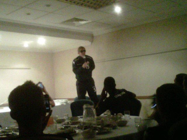 Dean in Gallagher mode while singing his initiation song at Walsall.