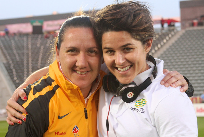 Sarah (right) with ex-teammate and current Matildas forward Lisa De Vanna. Photo: TheWomensGame.com