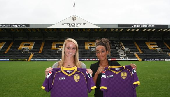 England and Notts County Ladies defender Sophie Bradley (left) with winger Jess Clarke. Photo: Notts County Ladies FC