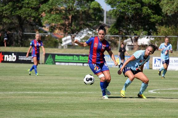 Ciara up against Jodie Taylor in Newcastle Jets' game with Sydney FC this month. Photo: Darcy O'Loghlen