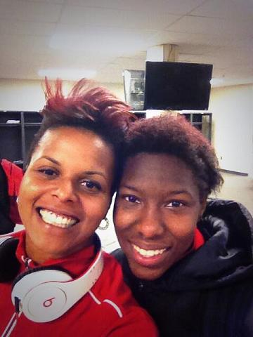 Photo: Canada goalkeeper Karina LeBlanc (left) with Kadeisha.