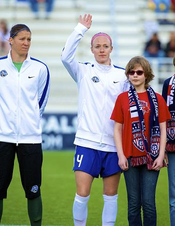 Becky (right) with FC Kansas City and U.S. keeper Nicole Barnhart. Photo: Ashley J. Palmer