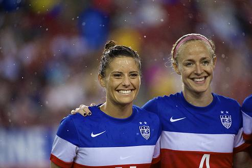 Becky (right) lines up for the U.S. alongside Ali Krieger. Photo: Ashley J. Palmer
