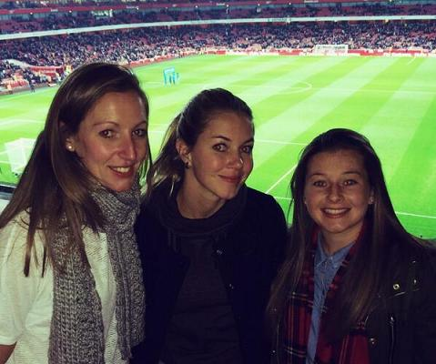 Christie (right) at the Emirates Stadium with Arsenal goalkeeper Siobhan Chamberlain and now-departed defender Anouk Hoogendijk.