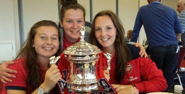Christie Murray (left) with teammates Emma Mitchell(centre) and Caroline Weir (right) after Arsenal Ladies' 2014 FA Women's Cup win.