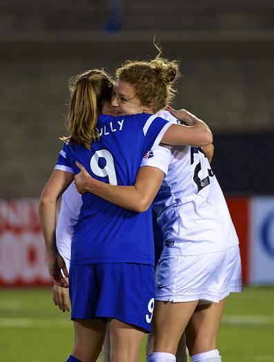 Heather O'Reilly (left) and Jordan embrace after Boston Breakers vs. Washington Spirit in June. Photo: Ashley J. Palmer