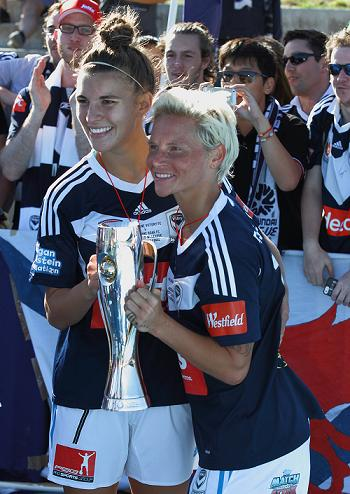 Steph alongside Jess Fishlock after Melbourne Victory's W-League success in February. Photo: Jason Heidrich Photography / http://jasonheidrichphoto.wix.com/jasonheidrichphoto