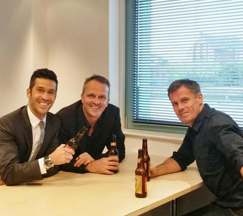 Luis alongside ex-Liverpool teammates Dietmar Hamann (centre) and Jamie Carragher (right). Photo: @LuchoGarcia14