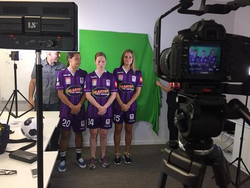 From left to right: Perth Glory Women's Sam Kerr, Collette, and Shelina Zadorsky.