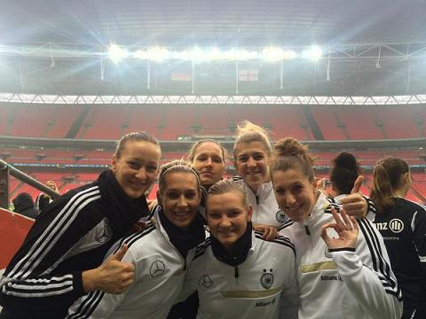 Some of the Germany players take in their Wembley surroundings in November. Photo: @Lena0803Lena