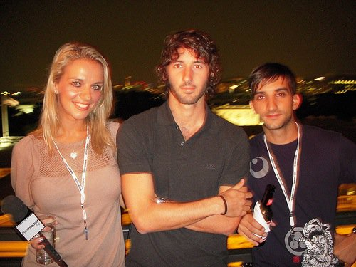 Kay and her Real Madrid TV colleague alongside the club's former midfielder Esteban Granero (centre).