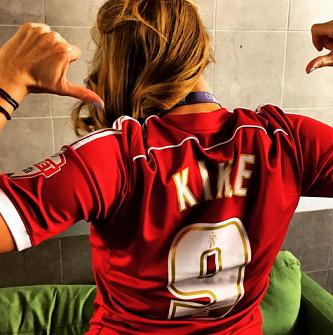 Kay representing Boro and the club's Spanish striker, Kike, over in the U.S.