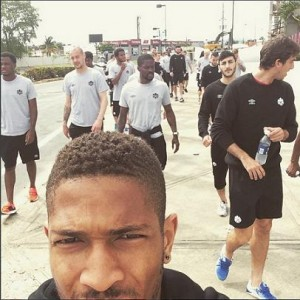 A team walk with the Canadian national side.