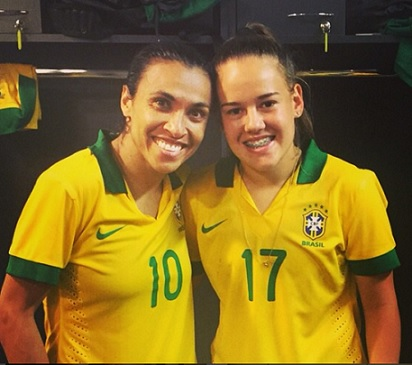 Andressinha (right) with teammate and Brazil icon Marta. instagram.com/andressinha95