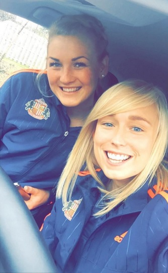 Steph (right) with Sunderland goalkeeper Hilde Gunn Olsen. instagram.com/stephanieroche9