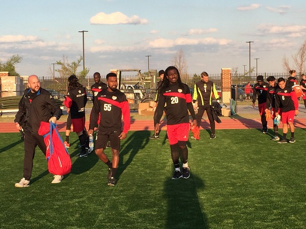 Derek experiences the Miller Stadium turf for the first time with his teammates. Photo: RayoOKC.com