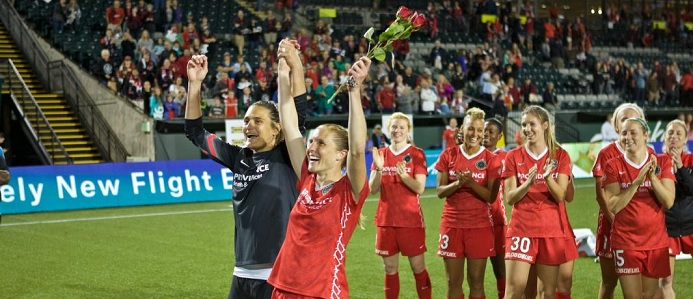 Nadine and Rachel Van Hollebeke bid farewell to their playing careers and to their home supporters at Providence Park. Photo: Craig Mitchelldyer / www.craigmitchelldyer.com