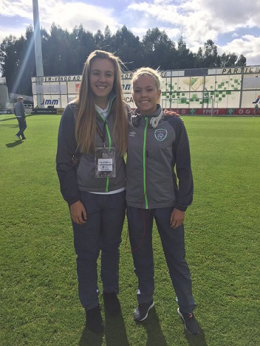 Grace Moloney (left) and Denise on international duty.