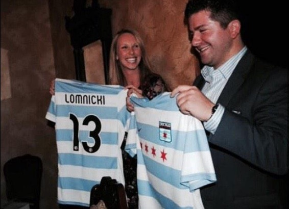 Chicago Red Stars favourite Michelle Wenino changing her jersey name to Lomnicki after her marriage to husband Wes (pictured).