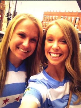 Michelle (right) and former Chicago Red Stars and Sky Blue teammate Alyssa Mautz. Photo: @Michelle_Wenino