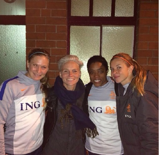 From left to right: Claudia, Wales midfielder Jess Fishlock, and Netherlands teammates Dyanne Bito and Anouk Hoogendijk. instagram.com/claussie85