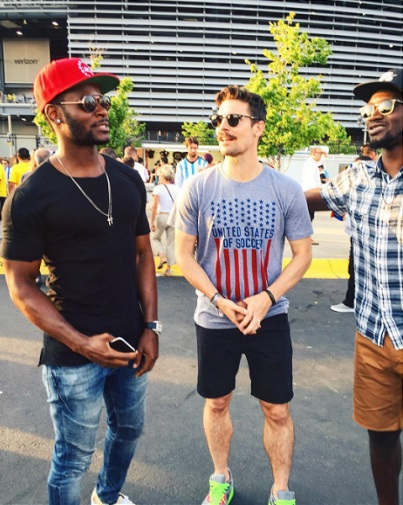 Heath alongside former U.S. teammates Maurice Edu (left) and CJ Sapong (right).